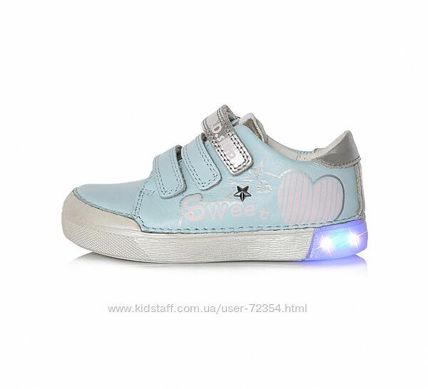 Кожаные кроссовки с led подсветкой дд степ dd step