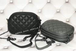 Стеганая сумочка на 3 отделения Италия натуральная кожа 2 цвета