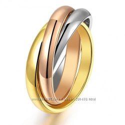 Тройное кольцо Cartier Trinity без гравировок 17мм