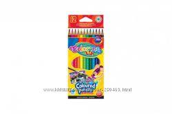 COLORINO Карандаши акварельные цветные  кисточка 12 цветов