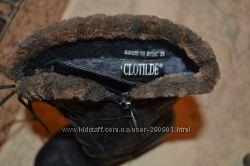 кожаные зимние сапожки, внутри цигейка