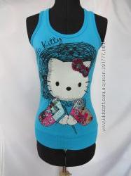 Голубая удлиненная майка Hello Kitty