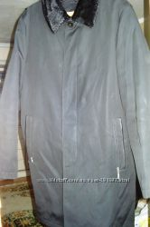 Классический мужской плащ-пальто на подстежке из натурального меха