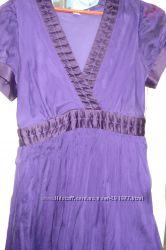 Фиолетовое шелковое двухслойное платье