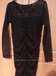 Вечернее черное платье с гипюровыми вставками р. 44-46 НОВОЕ