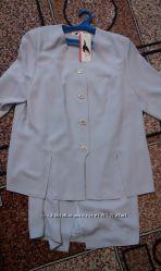 Новый костюм, юбка, блузка, бледно-серый, XL