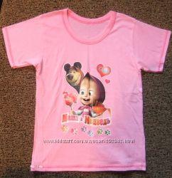 Классная футболка Маша и медведь на 7-9 лет