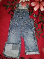 Комбинезоны джинсовые на мальчика 9-12 мес