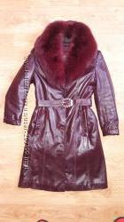 Кожаное пальто с шикарным воротником