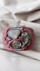 Эксклюзивный авторский кожаный браслет с горным хрусталём