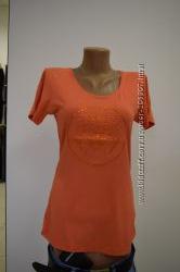 Versace коралловая футболка