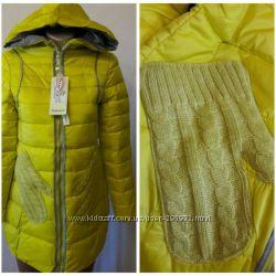Куртка на холофайбере с вязаными кармашками