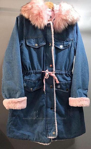 Парка джинсовая, пальто теплое, жёлтый мех. От 10 лет до размера S