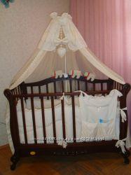 Детская кроватка-диван Трия Ксения со стразами полностью укомплектованная