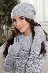 Комплект - шапка, шарф и перчатки Новый Расцветки в ассортименте