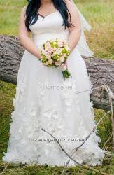 Шикарное Свадебное платье больших размеров Цвет айвори