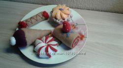 Еда из фетра. Детский игровой набор Десерт handmade.