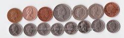 Монеты Великобритании достоинством 1, 5, 10, 20 пенсов