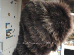 капюшон меховой натуральный коричнево-бордовый
