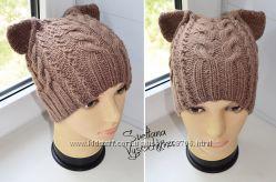Теплая шапка с ушками