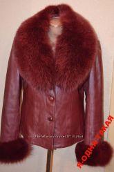 куртка кожа  вишня перламутр с подстежкой