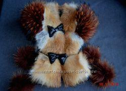 роскошная натуральная жилетка-лиса-енот