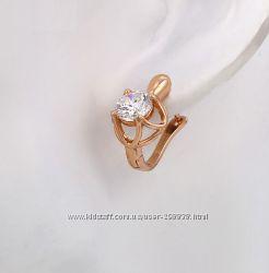 Сережки GF 18К с прекрасным белым камнем. Розовое золото
