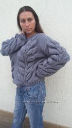 Пуловер ручной работы Листья, шерсть