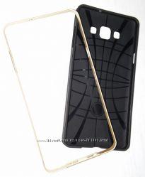Красивый чехол-трансформер черно-золотистого цвета на Samsung Galaxy А7