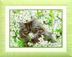 Вышивка бисером  коты