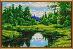 Вышивка бисером на атласе пейзажи