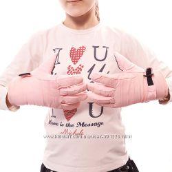 Перчатки детские дутики розовые. Замеры смотрите фото