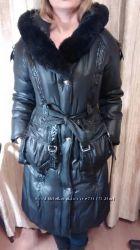 Очень теплое длинное женское пальто S, натуральный пух