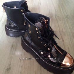 Кожаные лаковые ботинки Zanotti. Реальные фото. Доставка бесплатная