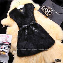 Натуральные жилетки из лисы. Реал. фото