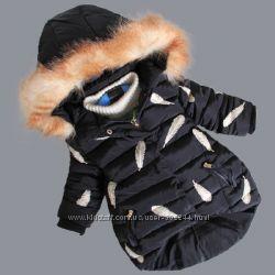 Зимние курточки с перышками для девочек