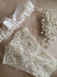 Комплект свадебных аксессуаров . Свадебные перчатки. Подвязка. Гребень
