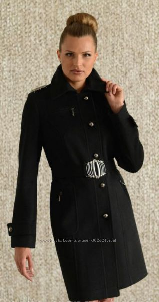 Черное классическое пальто 38 M 44. Натуральная шерсть
