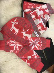 Женский набор Dolce&Gabbana шапка , шарф , рукава