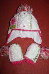 Теплый и очень красивый комплект шапка варежки Next для девочки 3-6 лет