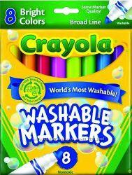 Мега популярные смываемые маркеры Crayola 8 шт. толстые, яркие цвета