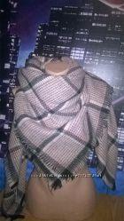 Большой и теплый шарф в клетку косынка и простой