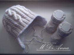 Продам вязаный зимний комплект шапочку и носочки на 3 - 6 мес.