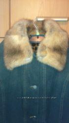 Джинсовое утепленное пальто. Норковая отделка