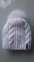 новая теплая шапка с меховым бубоном, шерсть