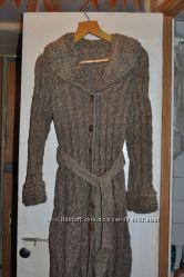Вязаное эксклюзивное пальто, теплое.