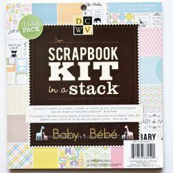 Набор бумаги и декора для скрапбукинга DCWV - Baby, 55 листов.