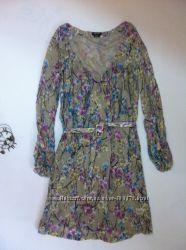 нежное платье Miss Sixty р. S, M, цветы, длинный рукав, осень, весна