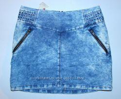Юбка джинсоваяс металлическими заклепками