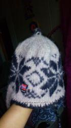 Швейцарская теплющая шапка 100 шерсть со флисовым подкладом